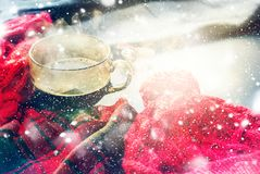 Cup Hot Tea Steam Red Knitted Cloth Winter Time Royalty Free Stock Photo