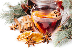 Cup of hot tea and a teapot. cinnamon, anise, cookies and spruce branches Stock Photo