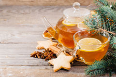 Cup of hot tea and a teapot. ginger, cinnamon, anise, cookies Royalty Free Stock Image