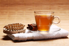 Cup of hot tea on the towel Royalty Free Stock Photo