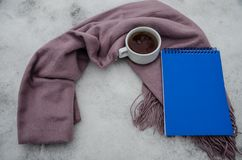 A cup of hot tea and a warm scarf royalty free stock images