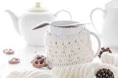 Cup hot tea winter evening Royalty Free Stock Photos