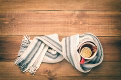 A cup of hot tea is wrapped in a scarf. Stock Images
