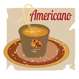Cup ice of americano on paper background, cartoon style. Yellow color Stock Photo