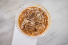 A cup of ice cafe mocha. Cold summer drink. Top view royalty free stock photography
