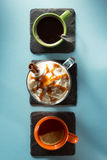 Cup of ice cream coffee at green background Royalty Free Stock Image