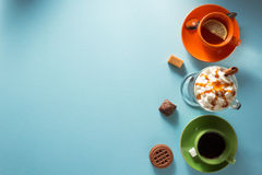 Cup of ice cream coffee, tea and cacao Royalty Free Stock Photos