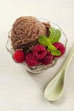 Cup of ice cream with raspberries Royalty Free Stock Images