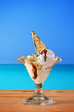 Cup of ice cream with sea in the background Royalty Free Stock Image