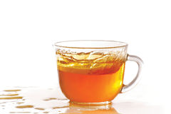 Cup of ice tea and lemon with splash Royalty Free Stock Photography