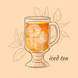 Cup of iced tea. Illustration with a cup of iced  tea on color background Royalty Free Stock Photos
