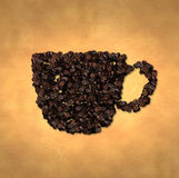 Cup Icon Coffee Bean on Old Paper Royalty Free Stock Image