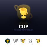 Cup icon in different style. Cup color icon, vector symbol in flat, outline and isometric style isolated on blur background Stock Photo