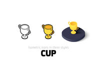 Cup icon in different style. Cup icon, vector symbol in flat, outline and isometric style Stock Photos