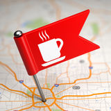 Cup Icon - Small Flag on a Map Background. Royalty Free Stock Photo