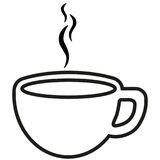 Cup icon vector. Cup of coffee tea with steam thin line outline icon Stock Photos
