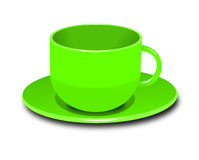 Cup illustration. Vector illustration of a green cup in a white background Royalty Free Stock Photos