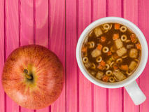 Cup of Instant Minestrone Soup Royalty Free Stock Photography