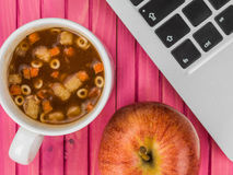 Cup of Instant Minestrone Soup Royalty Free Stock Image