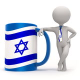 Cup with Israel flag and small character Royalty Free Stock Image