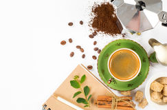 Cup of Italian espresso. With cinnamon coffee beans brown sugar Stock Images