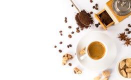 Cup of Italian espresso with cinnamon coffee beans brown sugar. Close up of freshly prepared cup of Italian espresso with cinnamon coffee beans brown sugar Stock Photos
