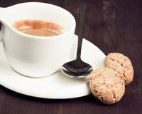 Cup of italian espresso coffee and biscuits Stock Photos