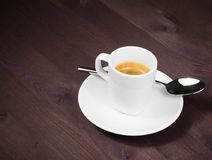 A cup of italian espresso coffee with spoon Royalty Free Stock Image