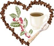 Cup kaffe och kaffebönor inom i hjärta royaltyfri illustrationer