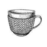 Cup in knitted cozy sweater. Hand drawn  illustration. Stock Photo