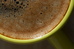 Cup with kofem closeup. Green cup of coffee close-up Stock Photo