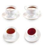 cup kwiatu odizolowywającego nad stołowym herbacianym teaset biel Zdjęcia Royalty Free