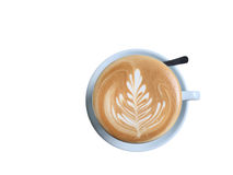 Cup of latte art coffee with foam isolated on white Royalty Free Stock Photography