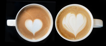 Cup of latte art coffee heart symbol Stock Photos