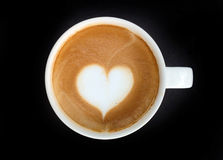 Cup of latte art coffee heart symbol Royalty Free Stock Photo