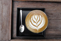 Cup of latte art coffee Royalty Free Stock Photography