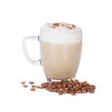 Cup latte auf Weiß Stockbild