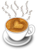 Cup of Latte Cappuccino Made with Love Royalty Free Stock Images