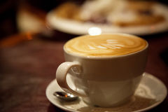Cup of latte or cappuccino or mocha coffee Stock Photos
