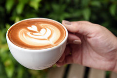 A cup of latte coffee Royalty Free Stock Photography