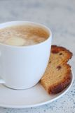 Cup of latte coffee with cake Royalty Free Stock Images