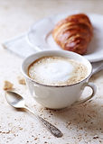 Cup of Latte Coffee and Croissant Royalty Free Stock Images
