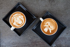 Cup of latte coffee. Two cup of latte coffee Stock Photography