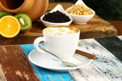 Cup of Latte. Cup of Foamy Cuppucino Latte Espresso Coffee Beverage Drink stock images