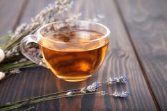 Cup of lavender tea and lavender flowers. Stock Image