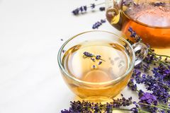 Cup of lavender tea and teapot with fresh flowers over white marble table. herbal drink. close up Stock Photo