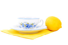 Cup and lemon Stock Photography