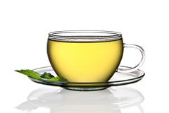 Cup of lemon tea. Isolated on a white background royalty free stock images