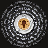 Cup of light bulb in cappuccino Stock Photos