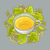 Cup of linden tea. On color background Royalty Free Stock Photography